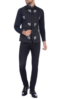 Paresh Lamba Black unicorn motif nehru jacket