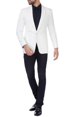 white textured nehru jacket