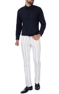 Paresh Lamba White stripe cotton pants