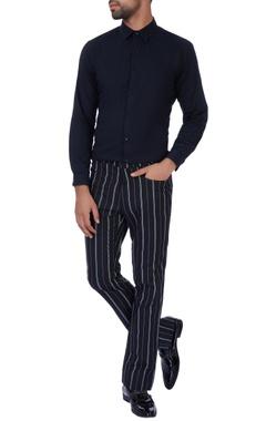 Paresh Lamba Black stripe casual pants