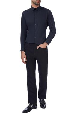 Paresh Lamba Black textured woolen pants