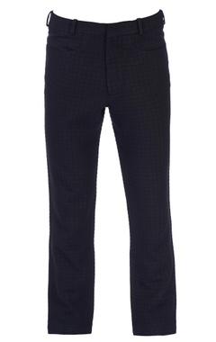 Black textured woolen pants