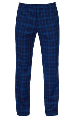 blue check fitted pants