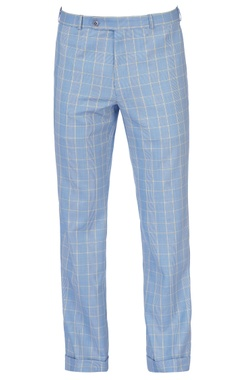 sky blue & yellow check pants