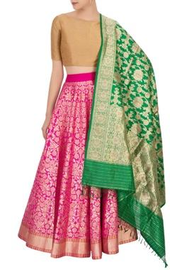 Bageecha Hot pink banarasi silk lehenga set
