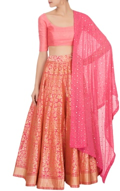 Bageecha Pink banarasi silk lehenga set