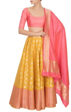 Yellow floral banarasi silk lehenga set