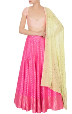 Hot pink banarasi silk lehenga set