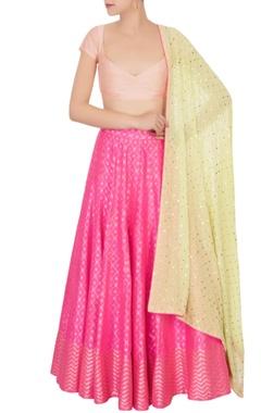 hot pink banarasi silk lehenga set
