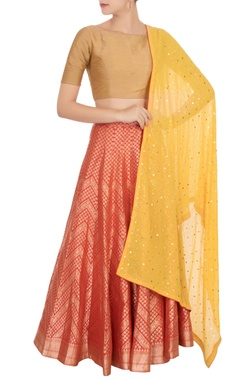 Red banarasi silk lehenga set