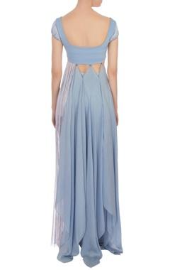 Air force blue tasseled neoprene dress with pants