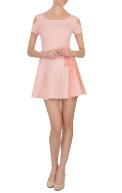 peach tasseled suede short dress
