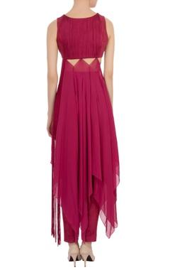 wine cut-out neoprene dress