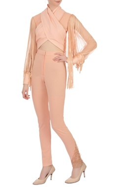 peach tasseled moss georgette blouse and pant set