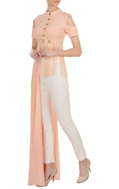 salmon pink tasseled moss georgette blouse and pants set