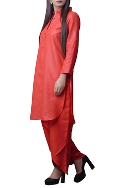 Red long kurta with dhoti pants