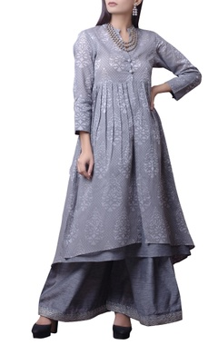 House of Qidwa Grey printed kurta & palazzo set