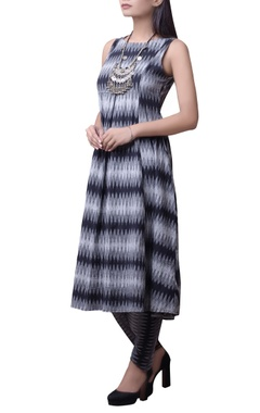 Black & grey printed kurta set
