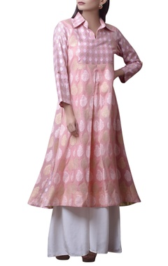 House of Qidwa Pink printed kurta with white pants