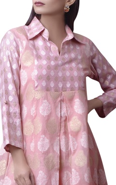 Pink printed kurta with white pants
