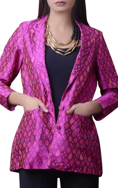 Pink printed silk short jacket