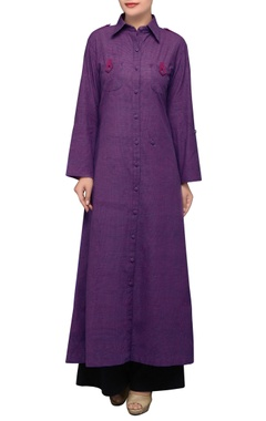 House of Qidwa Purple cotton long kurta