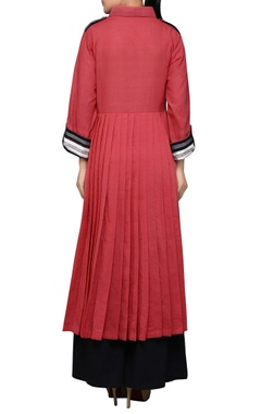 Pink pleated long kurta
