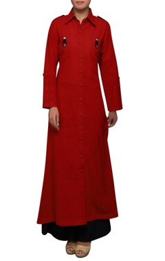 House of Qidwa Red south cotton long kurta