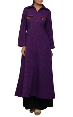 House of Qidwa Purple ikat printed long kurta