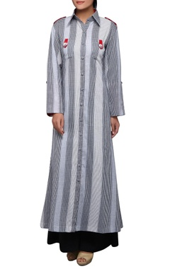 House of Qidwa Grey & white check printed kurta