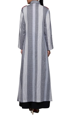 Grey & white check printed kurta
