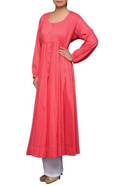 House of Qidwa Pink pleated cotton kurta