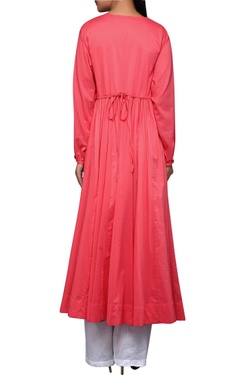 Pink pleated cotton kurta