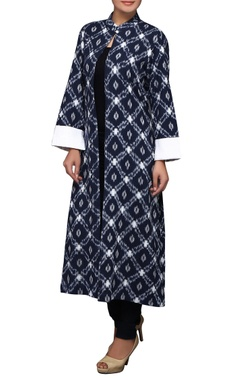House of Qidwa Blue hand printed ikat jacket