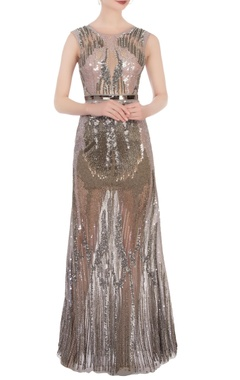 silver & grey sequin & bead luxe gown