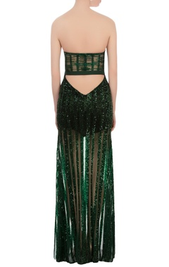 green sequin gala gown