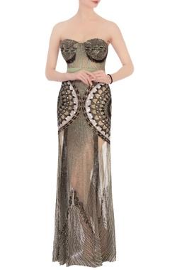 green & black net sequin gown