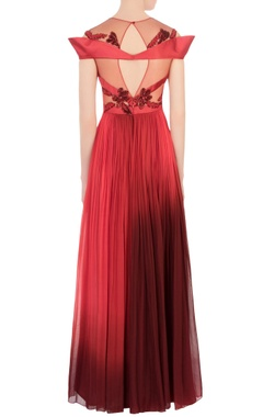 red & maroon net embellished gown
