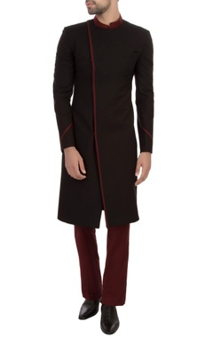 black & maroon worsted wool self textured sherwani with trousers