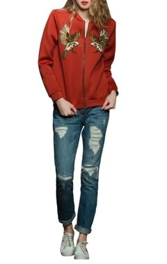 Red scuba bomber jacket