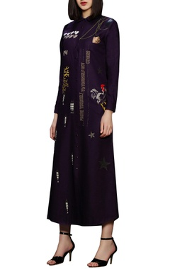 purple cotton long shirt dress