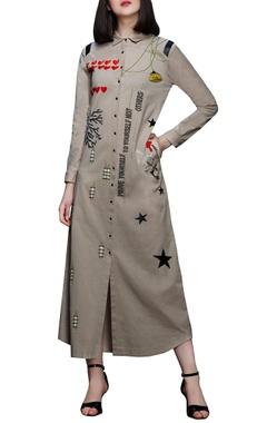 Beige linen shirt dress