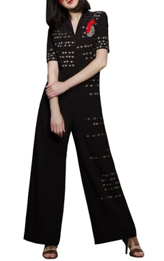 Brown rooster embroidered motif jumpsuit
