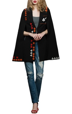 black crepe embroidered cape