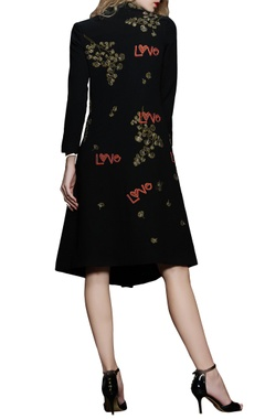 Black embroidered midi dress