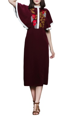 Maroon embroidered midi dress