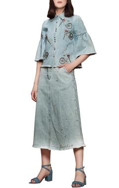 Sky blue embroidered skirt set
