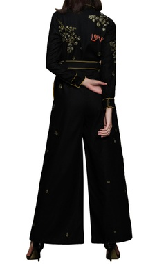 black embroidered jumpsui