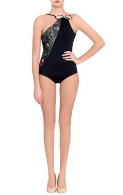 black leaf printed jersey trikini