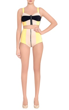 orange & black color-block two-piece swimsuit